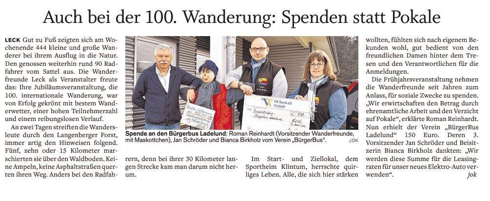 Presseartikel Wanderfreunde Leck 4.4.2016